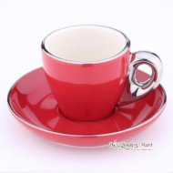 Tách Cappuccino Bằng Sứ Yami 80CC Màu Đỏ
