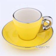 Tách Cappuccino Bằng Sứ Yami 80CC Màu Vàng