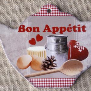 tranh sứ decor hình ấm trà Bon Appetit