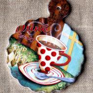 tranh sứ decor hình ly cafe cup of life