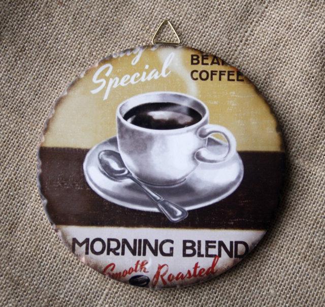 Tranh Sứ Tròn Hình Ly Cafe Cappuccino 01Tranh Sứ Tròn Hình Ly Cafe Cappuccino 01