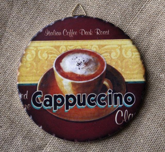 Tranh Sứ Tròn Hình Ly Cafe Cappuccino