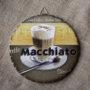 Tranh Sứ Tròn Hình Ly Cafe Macchiato