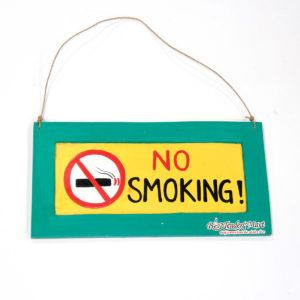 Bảng Gỗ No Smoking Màu Xanh