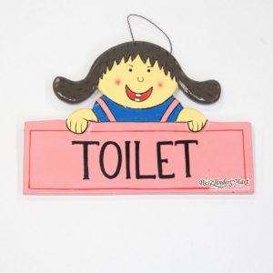 Bảng Gỗ Toilet Màu Hồng