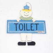 Bảng Gỗ Toilet Màu Xanh