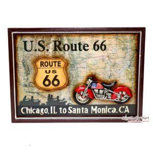 Bảng US Route 66 Bằng Gỗ Trang Trí