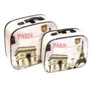 Bộ 2 Vali Gỗ Vintage Hình Paris