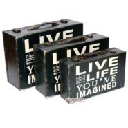 Bộ 3 Vali Gỗ Vintage Live Life Hình Chữ Nhật