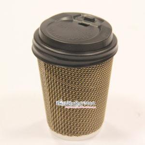 Ly Cafe Giấy Màu Đen- Vàng Kèm Nắp Log 40 Cái