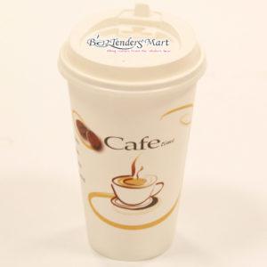 Ly Cafe Giấy Màu Trắng Kèm Nắp Log 40 Cái