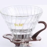 Phễu Lọc Coffee VO2 Yami Thủy Tinh Đế Nhựa Màu Nâu