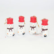 Set 10 Người Tuyết Gỗ Trang Trí Noel Màu Đỏ