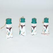 Set 10 Người Tuyết Gỗ Trang Trí Noel Màu Xanh