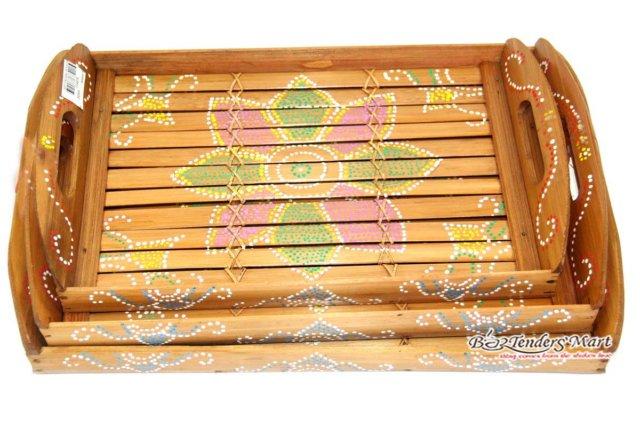 Set Bộ 3 Khay Trà Tre Họa Tiết Hoa Màu Vàng 01