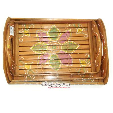 Set Bộ 3 Khay Trà Tre Họa Tiết Hoa Màu Vàng