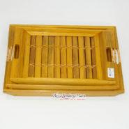 Set Bộ 3 Khay Trà Tre Màu Vàng Nghệ