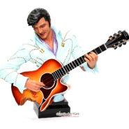 Tượng Thạch Cao Elvis Presley Cầm Đàn Màu Xanh