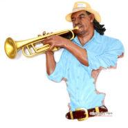 Tượng Thạch Cao Người Chơi Kèn Trumpet Treo Tường 02