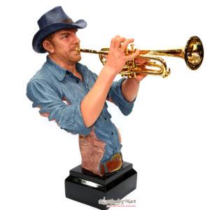 Tượng Thạch Cao Người Chơi Kèn Trumpet